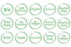 Reeks Gezonde Voedsel vectorsymbolen Stock Foto's
