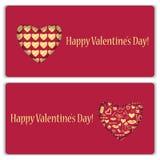 Reeks giftkaarten voor de Dag van Valentine Royalty-vrije Stock Foto