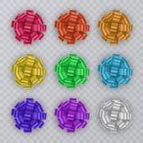 Reeks giftlinten met kleurrijke Boog Giftelementen voor Kaartontwerp De achtergrond van de vakantie Vector illustratie Royalty-vrije Stock Fotografie