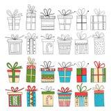 Reeks giftpakketten, Kerstmisgiften Royalty-vrije Stock Fotografie