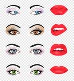 Reeks glamourlippen met roze lippenstiftkleur Stock Afbeeldingen
