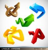 Reeks Glanzende 3D Pijlen Royalty-vrije Stock Foto's