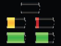 Reeks glanzende batterijen Royalty-vrije Stock Foto
