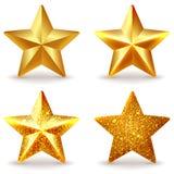 Reeks glanzende gouden sterren Royalty-vrije Stock Foto's