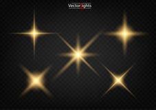 reeks Glanzende ster, de zondeeltjes stock foto's
