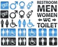 Reeks glanzende tekens voor toiletten Royalty-vrije Stock Afbeelding