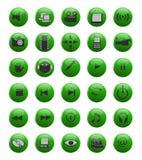 Groene Web en van verschillende media pictogrammen Stock Afbeeldingen