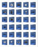 Blauwe vierkante Web en van verschillende media pictogrammen Stock Afbeeldingen