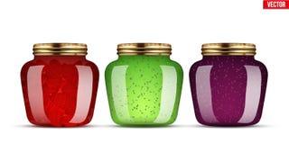 Reeks Glaskruiken met jam stock illustratie