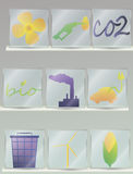 Bio geplaatste pictogrammen Royalty-vrije Stock Fotografie