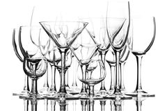 Reeks glazen op de witte achtergrond Stock Fotografie