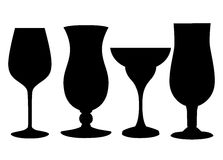 Reeks glazendrinkbekers, pictogram leeg binnenglas van een verschillende vorm voor cocktails van sap Stock Foto's