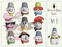 Reeks glimlachen Dugg de sneeuwman, nummer 1 vector illustratie