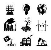 Reeks globale verwarmende pictogrammen royalty-vrije illustratie