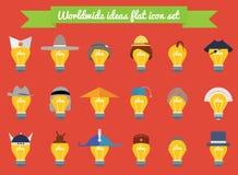 Reeks gloeilampenideeën in nationaal hoeden en kapsels vlak ontwerp Pictogrammen van creativiteit, ideeën, kennis en onderwijs we Royalty-vrije Stock Foto's
