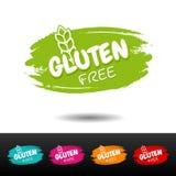 Reeks gluten vrije kentekens Vectorhand getrokken etiketten Stock Afbeelding