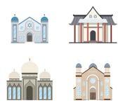 Reeks godsdienstgebouwen Kerk, moskee, synagoge, pagode Traditionele godsdienstenarchitectuur vector illustratie