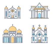 Reeks godsdienstgebouwen Kerk, moskee, synagoge, pagode Traditionele godsdienstenarchitectuur royalty-vrije illustratie