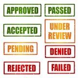 Reeks goedkeurings grunge rubberzegels Stock Fotografie