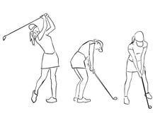 Reeks golfspelermeisjes De vrouwelijke golfspeler in verschillend stelt royalty-vrije illustratie
