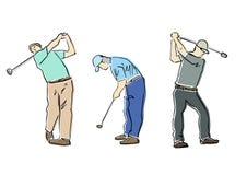 Reeks golfspelers Vector vlakke illustratie stock illustratie