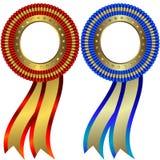 Reeks goud en zilveren medailles Stock Afbeeldingen