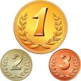 Reeks goud, zilver en bronsmedailles Royalty-vrije Stock Afbeelding