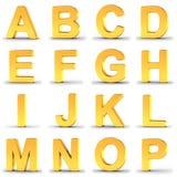 Reeks gouden alfabetbrieven van A aan P over wit Royalty-vrije Stock Foto's