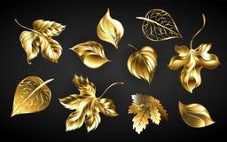 Reeks gouden bladeren op zwarte achtergrond vector illustratie