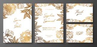 Reeks gouden en witte huwelijkskaarten met pioenen De gouden bloemenkaartenmalplaatjes voor sparen de datum, danken u kaarden, no vector illustratie