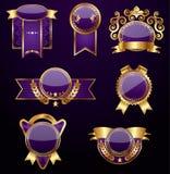 Reeks gouden etiketten Royalty-vrije Stock Foto