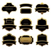 Reeks gouden etiketten en frames Royalty-vrije Stock Fotografie