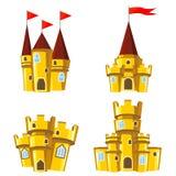 Reeks gouden feekastelen Royalty-vrije Stock Afbeeldingen