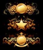 Reeks gouden frames Stock Afbeelding