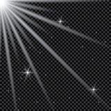 Reeks gouden het gloeien geïsoleerde lichteffecten voor transparante achtergrond Zonflits met stralen en schijnwerper Gloed licht stock illustratie