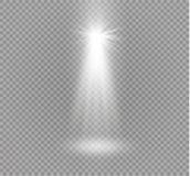 Reeks gouden het gloeien geïsoleerde lichteffecten voor transparante achtergrond Zonflits met stralen en schijnwerper Gloedlicht royalty-vrije illustratie