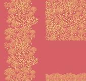 Reeks gouden installaties naadloze patroon en grenzen Stock Foto