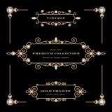 Reeks gouden juwelenkaders Stock Foto