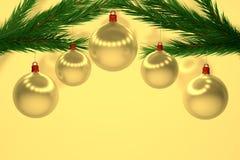 Reeks gouden Kerstmisballen Stock Afbeeldingen