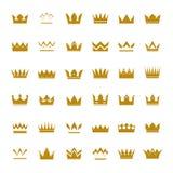 Reeks gouden kronen en pictogrammen vector illustratie
