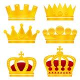 Reeks gouden kronen op witte achtergrond vector illustratie