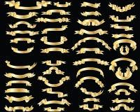 Reeks gouden linten Stock Fotografie