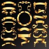 Reeks gouden linten of banners Stock Fotografie