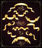 Reeks gouden linten en ontwerpelementen Royalty-vrije Stock Afbeeldingen