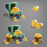 Reeks gouden muntstukken in borst en zak vector illustratie