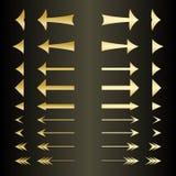 Reeks gouden pijlen Stock Afbeeldingen