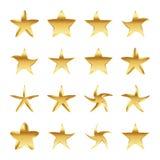 Reeks gouden sterren Vector illustratie Stock Afbeeldingen