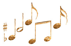 Reeks gouden symbolen geïsoleerdeb van de patroonmuzieknoot Stock Foto