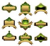 Reeks gouden uitstekende etiketten Royalty-vrije Stock Afbeeldingen