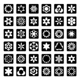 Reeks grafische bloemenpictogrammen Royalty-vrije Stock Fotografie